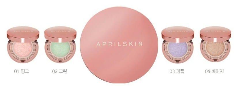 Bảng màu Phấn nước April Skin vỏ hồng bóng