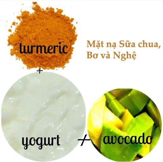 Hỗn hợp tinh bột nghệ, sữa chua, và bơ tươi giúp da sáng mịn