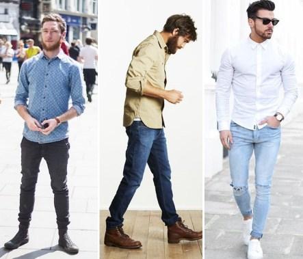 4 loại áo sơ mi kết hợp quần jean Nam