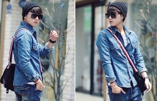 áo denim kết hợp quần jean