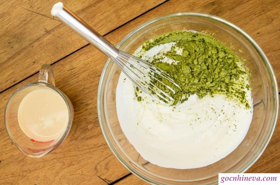 bột đậu xanh và sữa tươi không đường
