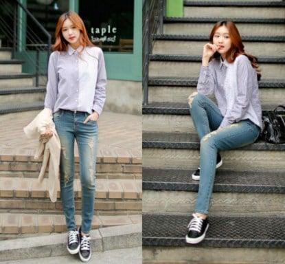 cách phối hợp quần jean với giày thể thao
