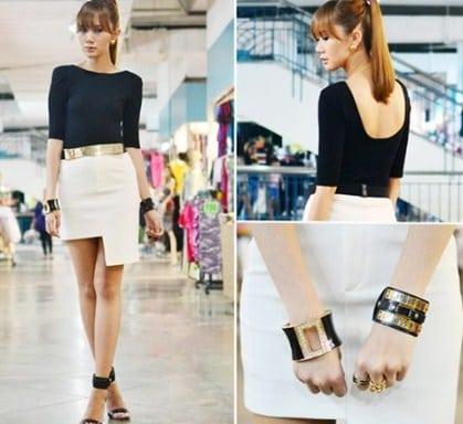 chân váy bất đối xứng