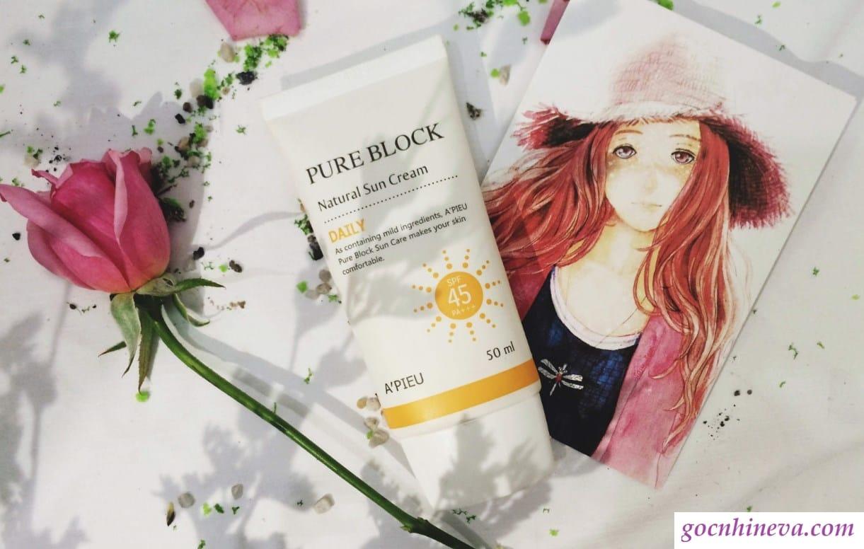 A'pieu Pure Block Natural Sun Cream Daily SPF45 PA+  ++