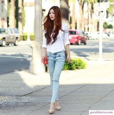 phối hơp sơ mi trắng với quần jean