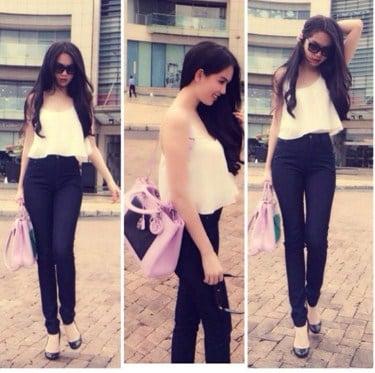quần jean với áo 2 dây