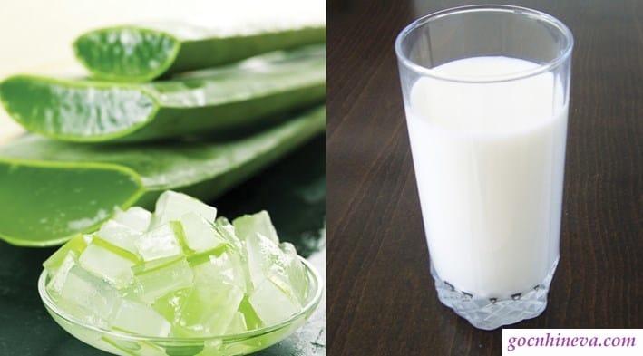 gel nha đam với sữa tươi không đường