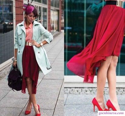 chân váy mullet với áo sơ mi