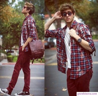 mix kiểu áo layer nam giới
