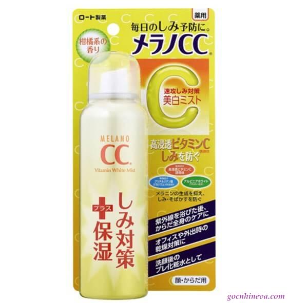 Xịt khoáng Rohto Melano CC Whitening Mist làm dịu mát, dưỡng trắng, ngăn ngừa lão hóa da, thích hợp sử dụng khi đi du lịch biển