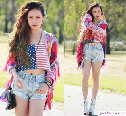 áo crop top và quần short