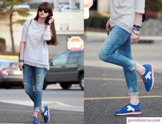 quần jean và giày thể thao
