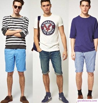 cách phối áo thun với quần short