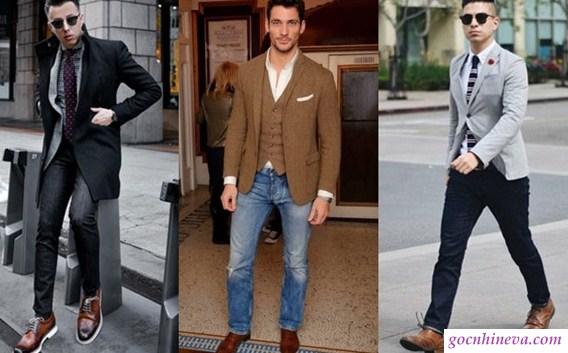cách phối giày da với quần áo