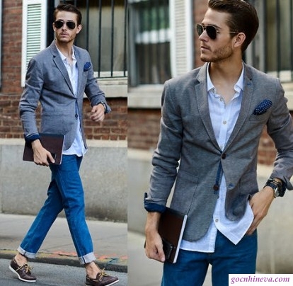 cách phối giày da với quần jeans