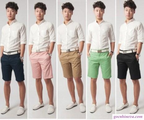 kết hợp áo sơ mi và quần short