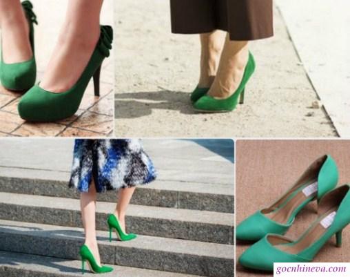 phối giày màu xanh lá