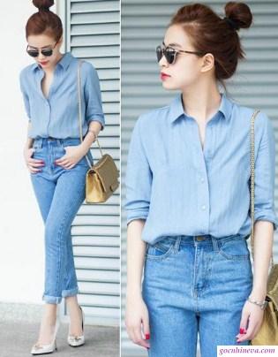 áo sơ mi và quần jeans nữ