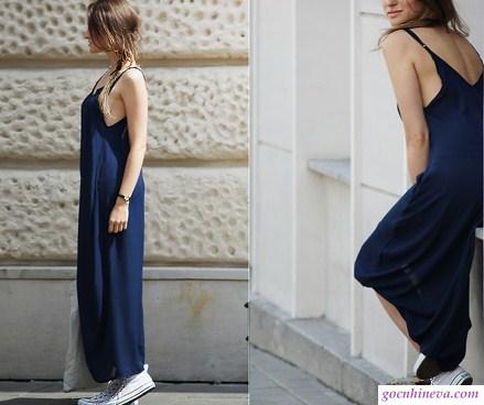 kết hợp váy hai dây với giày