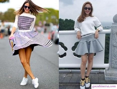 kết hợp váy xòe với giày snacker