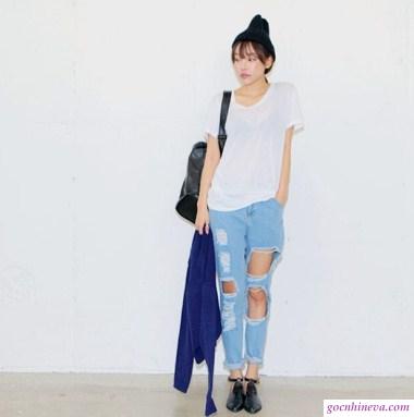 mặc jeans rách