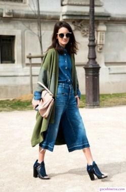quần ống rộng với áo khoác