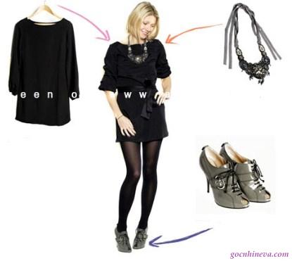 váy đen và giày cao gót