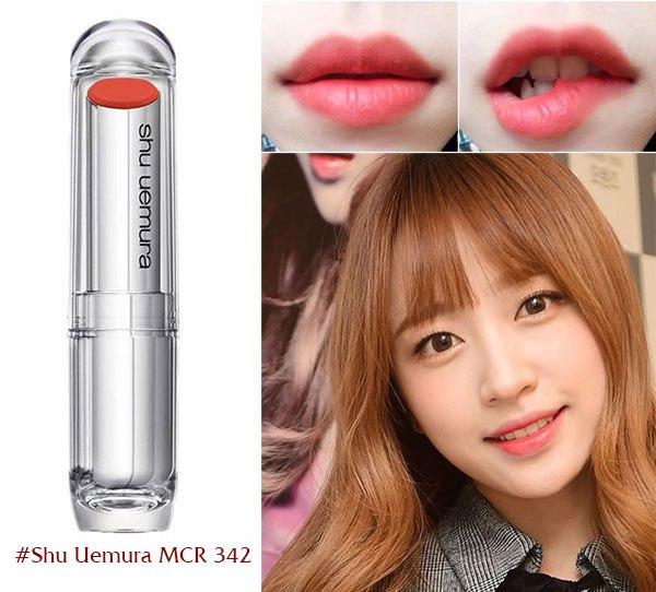 shu 342 Màu cam đất pha trộn cam sữa trẻ trung giúp đôi môi bạn trở nên tươi sáng nhưng vẫn dịu dàng đằm thắm