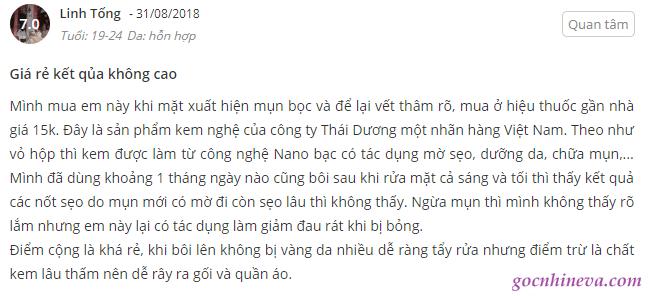 kem nghệ Thái Dương trị mụn có tốt không