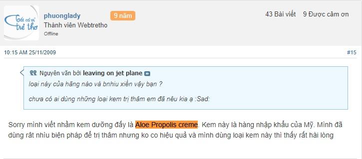 Đánh giá về Aloe Propolis Creme