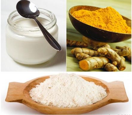 Mặt nạ tinh bột nghệ, cám gạo, sữa tươi không đường