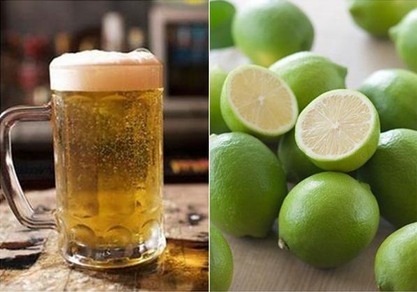 Rửa mặt với bia và chanh