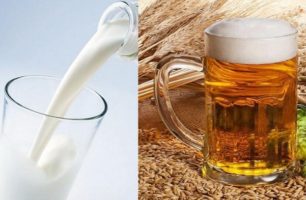 Rửa mặt với bia và sữa tươi