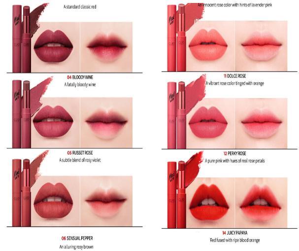 Ngoài ra, bảng màu son Clio Mad Matte Lips còn có các màu khác